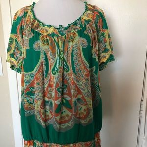 Elastic sleeve and waist blouse